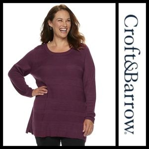 Croft & Barrow Pointelle Purple Sweater NWT